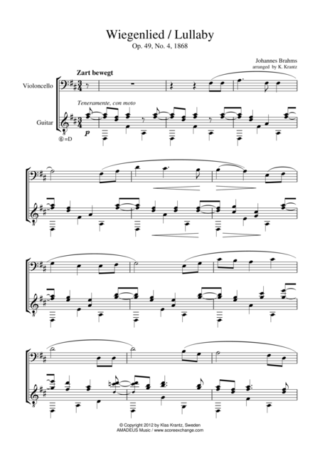 Wiegenlied / Lullaby for cello and guitar