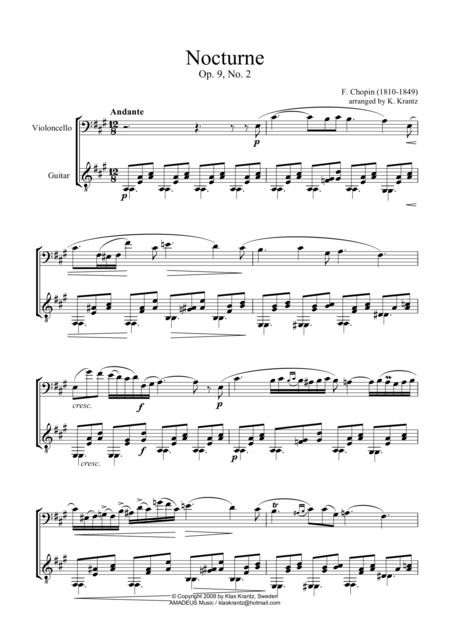 Nocturne Op. 9 No. 2 (abridged) for cello and guitar