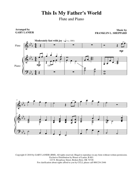 THIS IS MY FATHER'S WORLD (Flute Piano and Flute Parts)