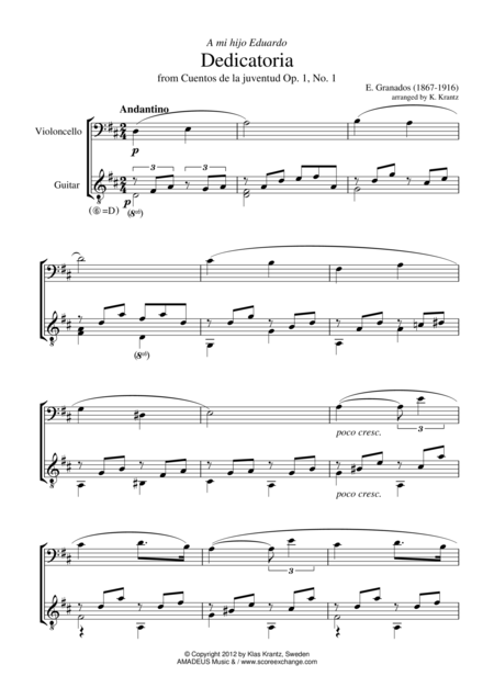 Dedicatoria for cello and guitar