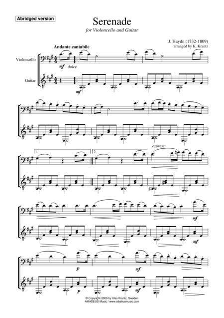 Serenade (abridged) for cello and guitar