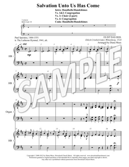 Salvation Unto Us Has Come (Handbells, 2-part Choir, Organ, Congregation)