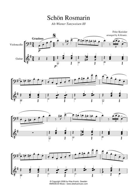 Schon Rosmarin for cello and guitar