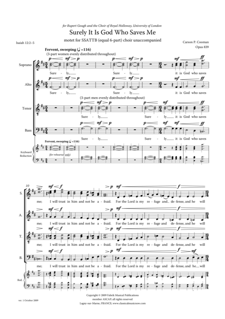 Carson Cooman - Surely It Is God Who Saves Me, Motet for SSATTB (equal 6-part) choir unaccompanied