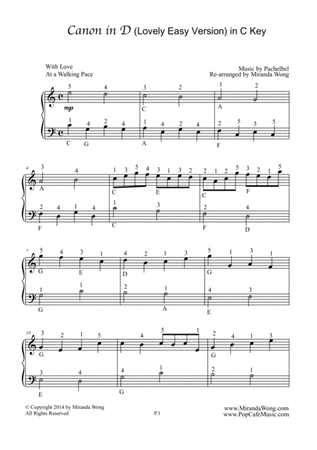 Canon in D - Easy Piano Solo in C Key (With Fingerings)