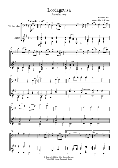 Lordagsvisa / Saturday Song for cello and guitar