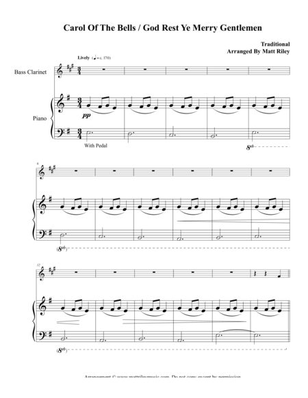 Carol of the Bells / God Rest Ye Merry Gentlemen – Bass Clarinet