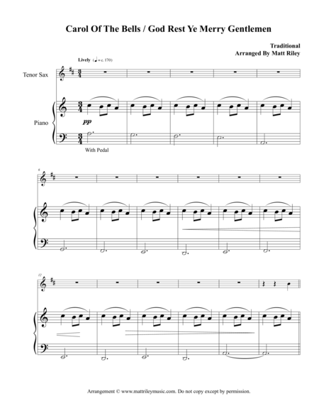 Carol of the Bells / God Rest Ye Merry Gentlemen – Tenor Sax