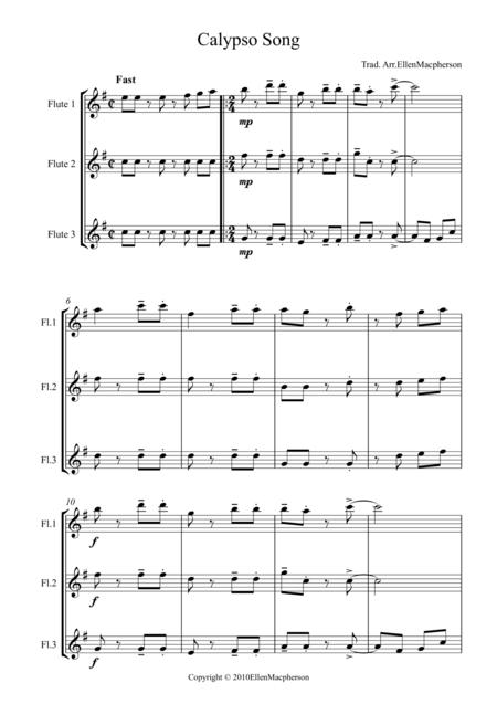 Calypso Song for Flute Trio