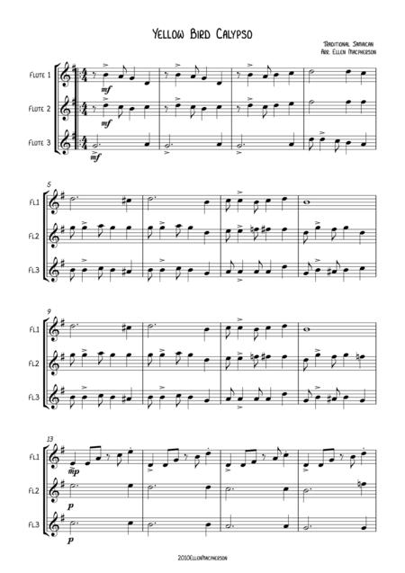 Yellow Bird Calypso - Flute Trio