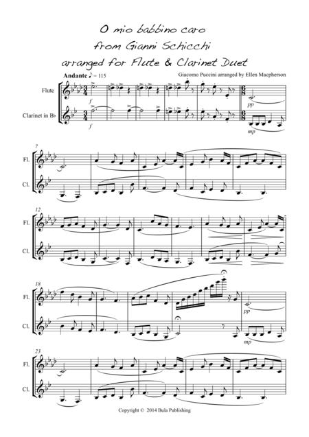 O mio babbino caro - for Flute and Clarinet Duet