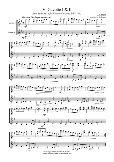 Gavotte 1 & 2 BWV 1012 for guitar duo