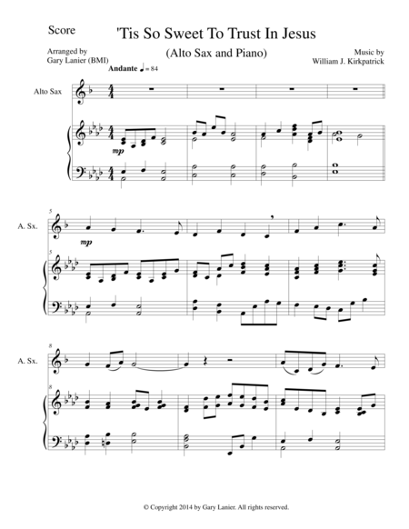 'TIS SO SWEET TO TRUST IN JESUS (Alto Sax/Piano and Sax Part)
