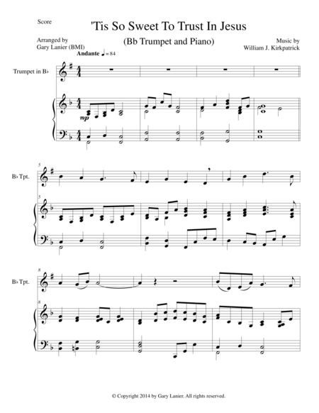 'TIS SO SWEET TO TRUST IN JESUS (Bb Trumpet/Piano and Trumpet Part)