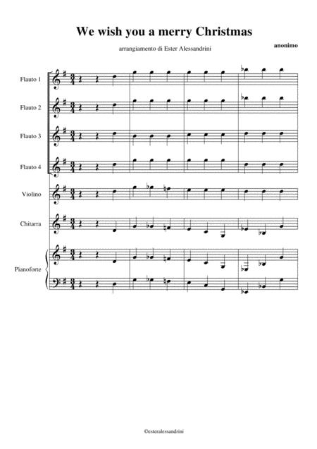 We wish you a merry Christmas per 4 flauti e orchestra scolastica