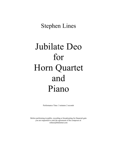 Jubilate Deo for Horn Quartet and Piano