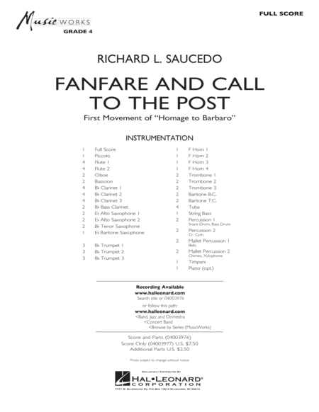 Fanfare and Call to the Post - Conductor Score (Full Score)