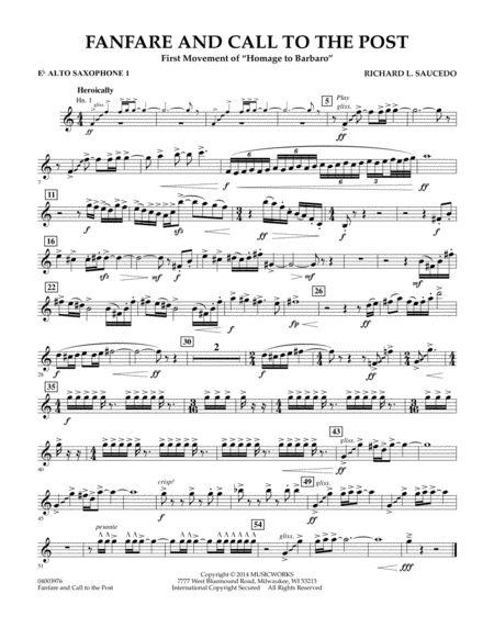 Fanfare and Call to the Post - Eb Alto Saxophone 1
