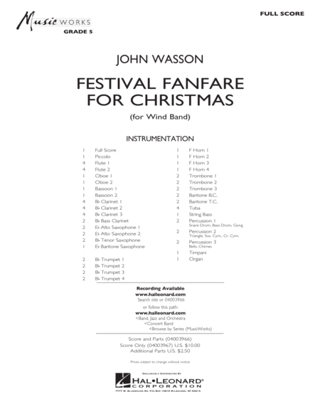 Festival Fanfare for Christmas (for Wind Band) - Conductor Score (Full Score)