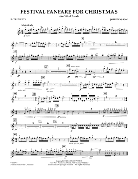 Festival Fanfare for Christmas (for Wind Band) - Bb Trumpet 1