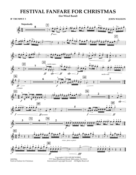Festival Fanfare for Christmas (for Wind Band) - Bb Trumpet 3