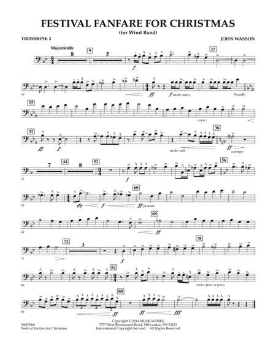 Festival Fanfare for Christmas (for Wind Band) - Trombone 2
