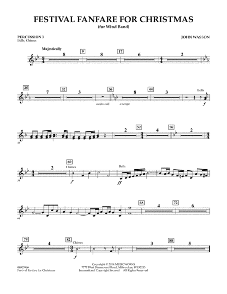 Festival Fanfare for Christmas (for Wind Band) - Percussion 3