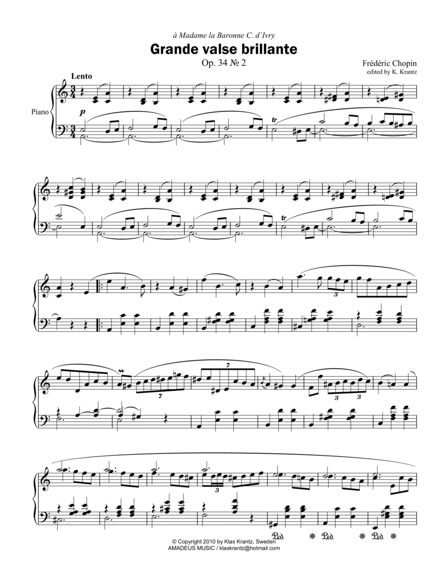 Grande valse brillante, Op. 34 No. 2, for piano solo