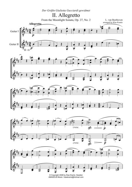 Allegretto (Moonlight Sonata) for guitar duo