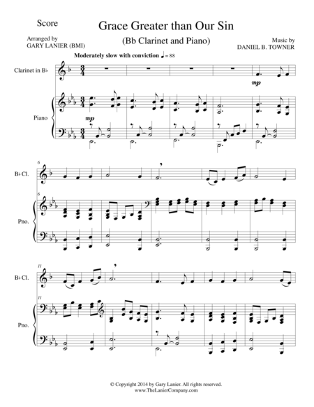 GRACE GREATER THAN OUR SIN (Bb Clarinet/Piano and Clarinet Part)
