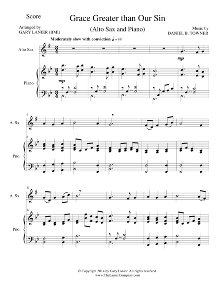 GRACE GREATER THAN OUR SIN (Alto Sax/Piano and Alto Sax Part)
