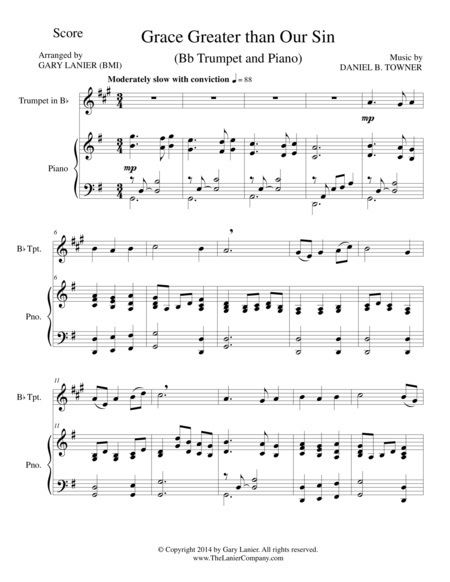 GRACE GREATER THAN OUR SIN (Bb Trumpet/Piano and Trumpet Part)