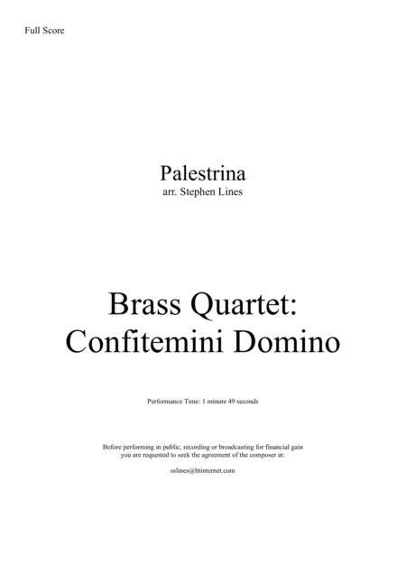 Confitemini Domino for Brass Quartet