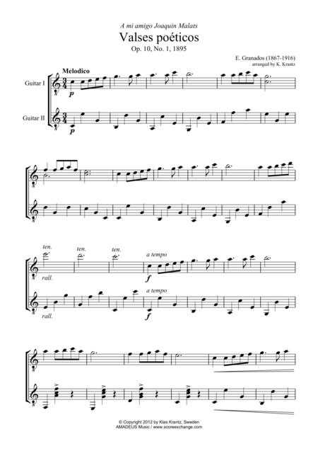 Valses poeticos Op. 10 No. 1 for guitar duo