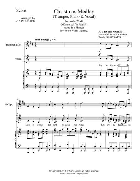 CHRISTMAS JOY MEDLEY (Bb Trumpet/Piano/ optional Vocal with Parts)