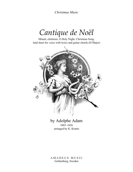 O Holy Night / Cantique de noel, lead sheet for voice with guitar chords (D Major)