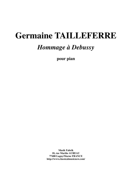 Germaine Tailleferre - Hommage à Debussy for Piano