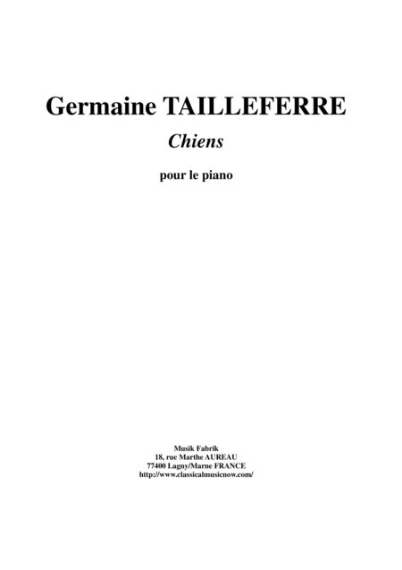 Germaine Tailleferre - Chiens (Dogs) for piano