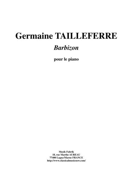 Germaine Tailleferre - Barbizon for piano