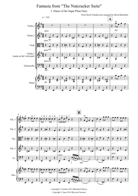 Dance of the Sugar Plum Fairy (fantasia from Nutcracker) for String Quartet