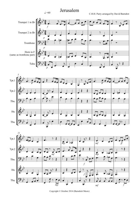 Jerusalem for Brass Quartet
