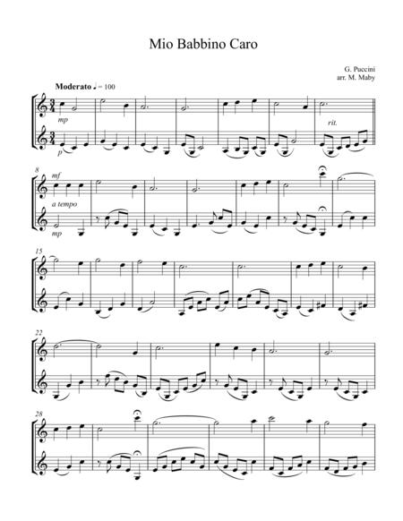 Mio Babbino Caro, arr. for violin duet