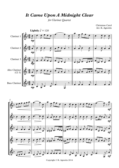 It Came Upon A Midnight Clear - Traditional and Jazz Arrangements for Clarinet Quartet
