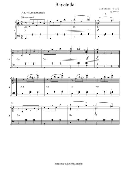 L. van Beethoven - Bagatella Op 119 n. 9  - With Chords Symbols