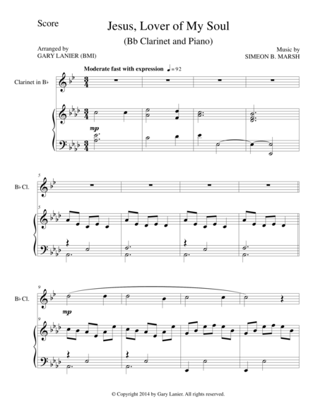 JESUS, LOVER OF MY SOUL (Bb Clarinet/Piano and Clarinet Part)