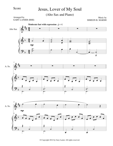 JESUS, LOVER OF MY SOUL (Alto Sax/Piano and Sax Part)