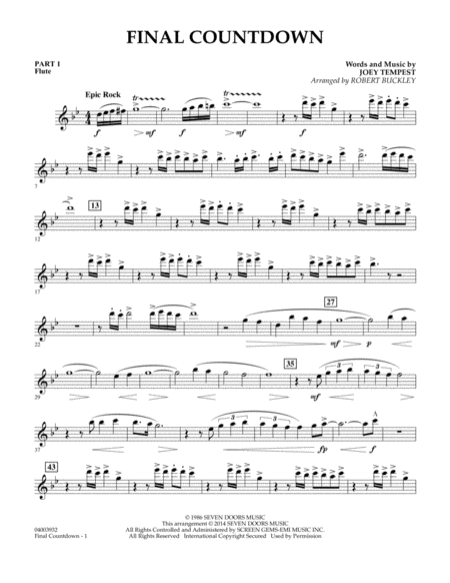 Final Countdown - Pt.1 - Flute