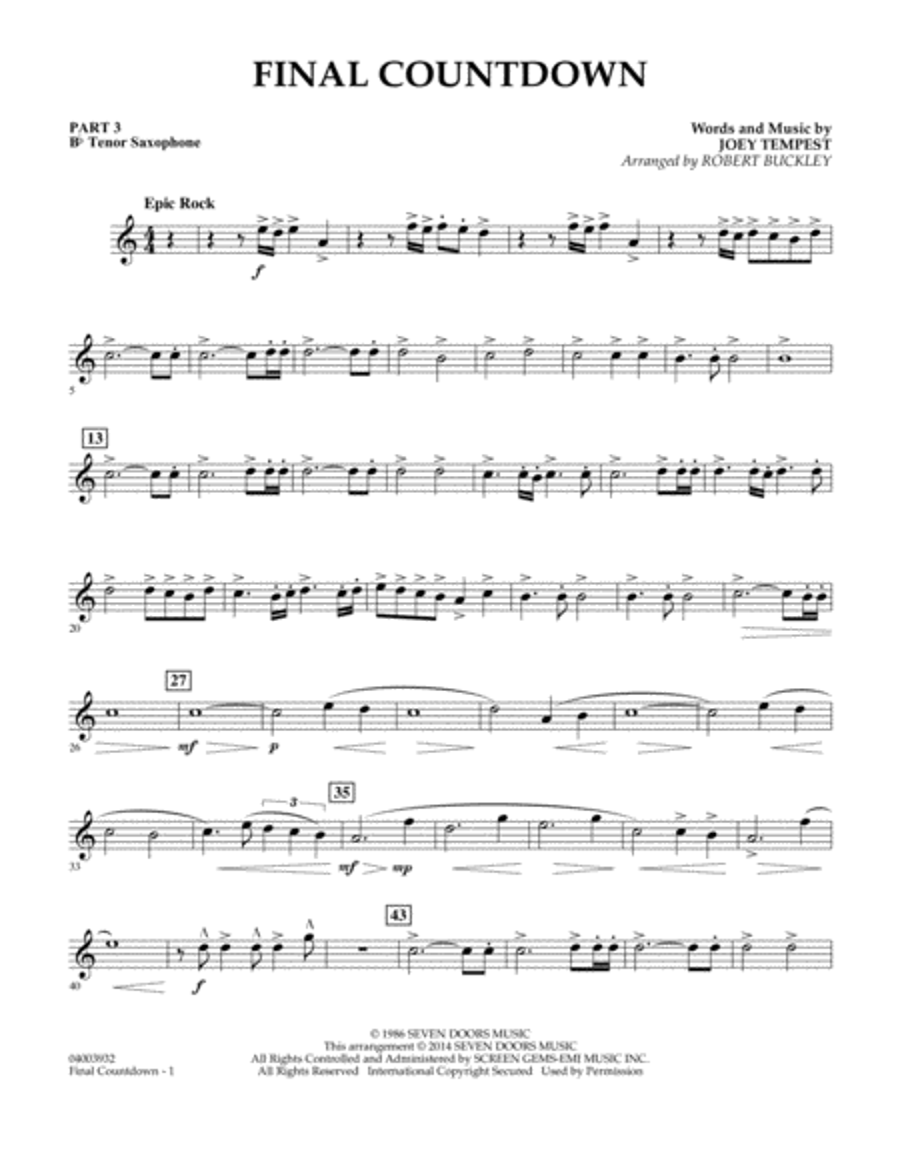 Final Countdown - Pt.3 - Bb Tenor Saxophone