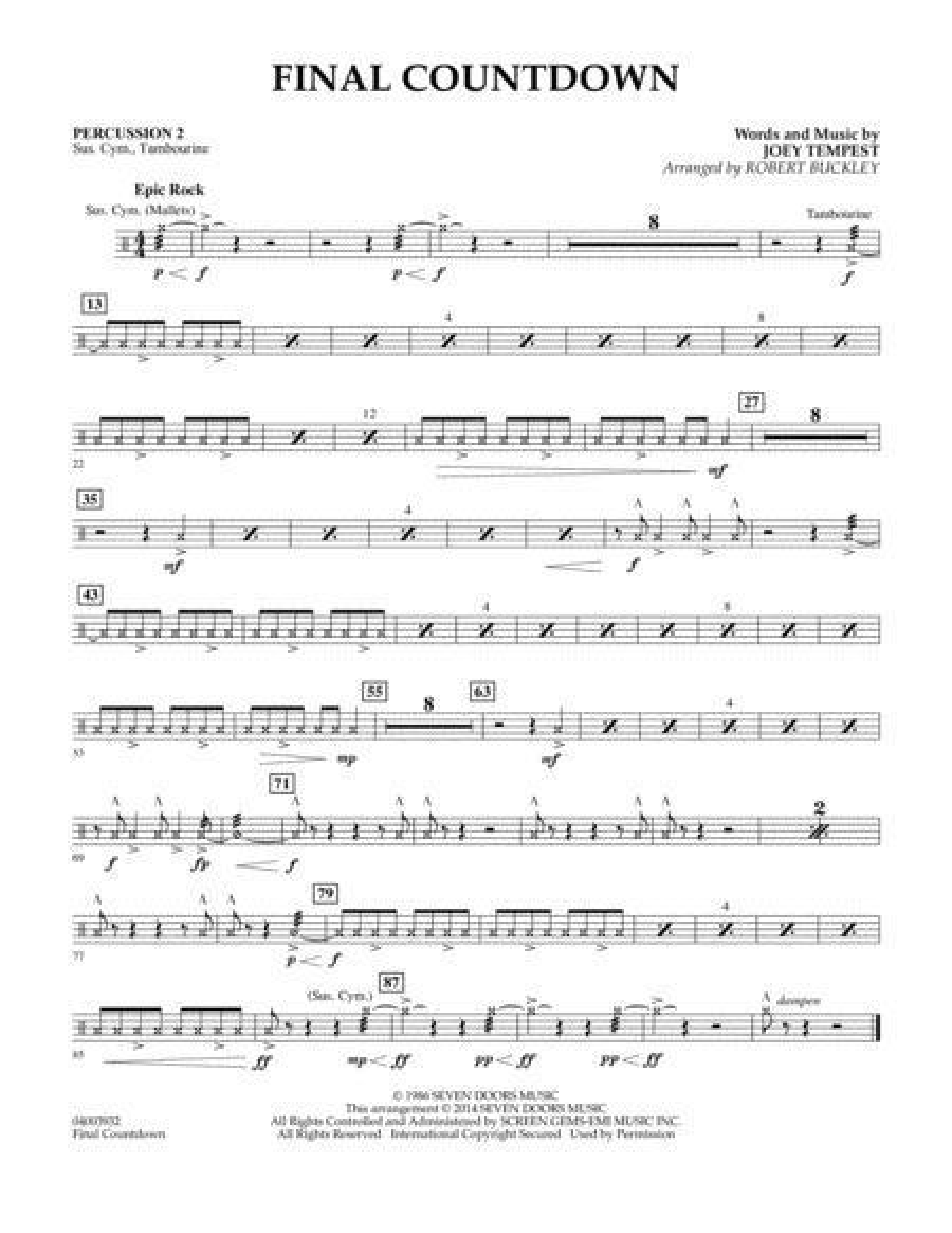 Final Countdown - Percussion 2
