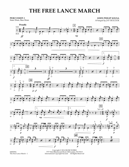 The Free Lance March - Percussion 1